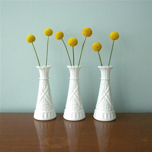 White Milk glass bud vases - Small