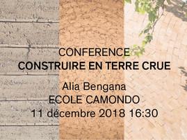 """Conférence """"Construire en terre crue"""", Ecole Camondo"""