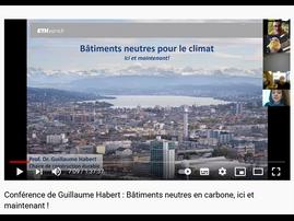 """Conférence de Guillaume Habert """"Bâtiments neutres pour le climant ici et maintenant"""""""