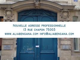 Nouvelle adresse professionnelle à partir du 1er décembre 2013