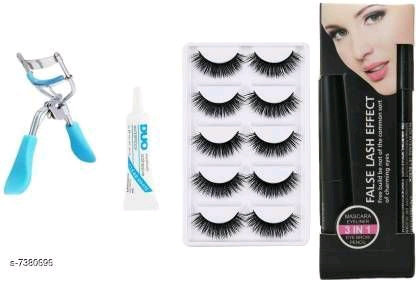Ultimate combo of Eyelashes, Curler, Glue and 3in1 Mascara Set (s-7380696)