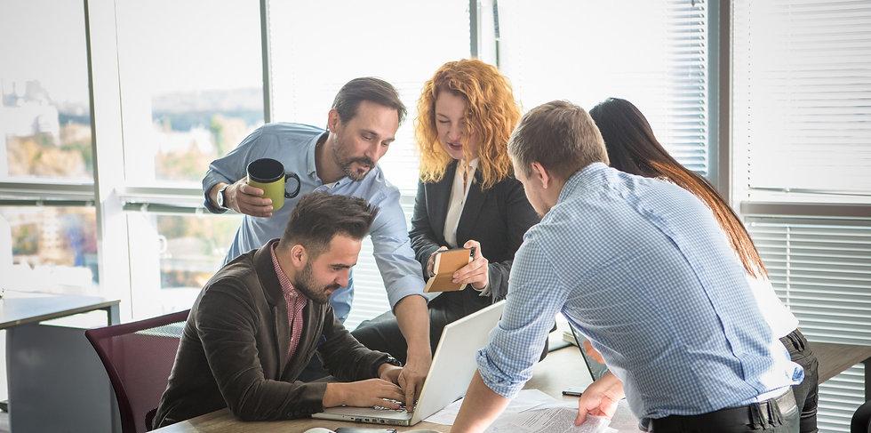 work team in meeting