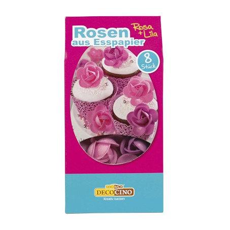 Dekoback - Rosen aus Esspapier - Rosa + Lila