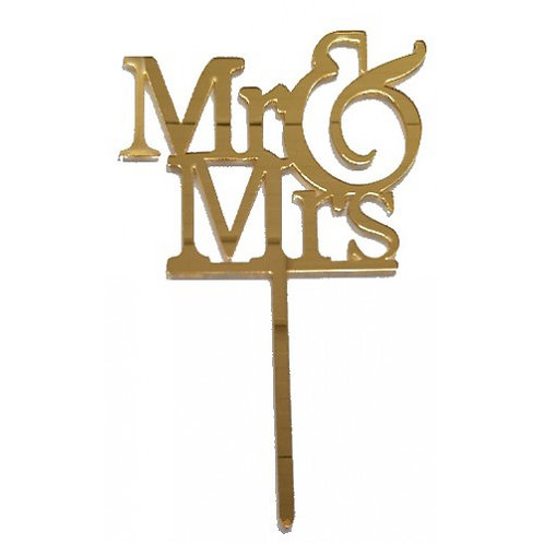 Cake Topper - Mr. und Mrs. - Gold Acryl