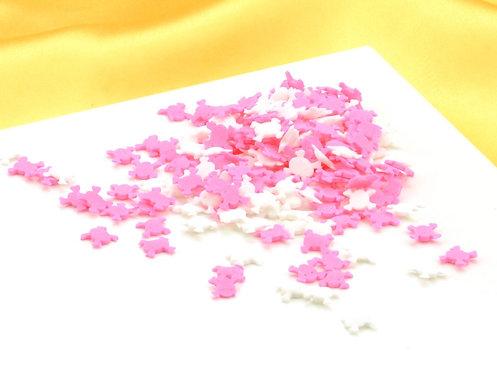 Streudekor - Totenköpfe Pink Weiß - 80g
