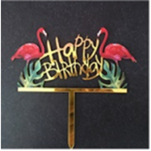 Cake Topper - Happy Birthday Flamingo