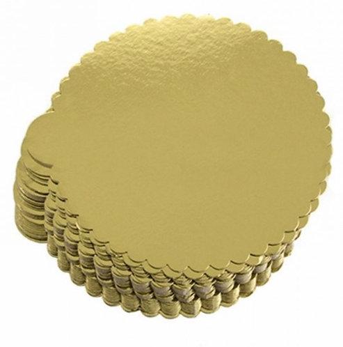 10er Pack: Tortenplatte - Cakeboard - Dünn Rund Gold 26cm
