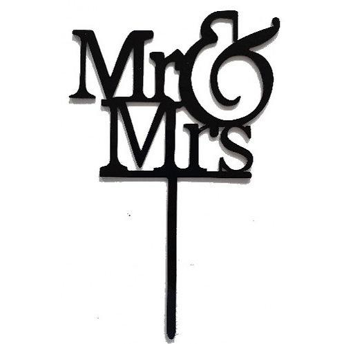 Cake Topper - Mr. und Mrs. - Schwarz Acryl