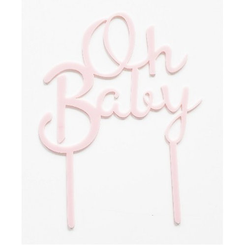 Cake Topper - Oh Baby - Rosa Acryl
