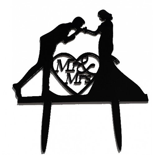 Cake Topper - Mr and Mrs. Handkiss