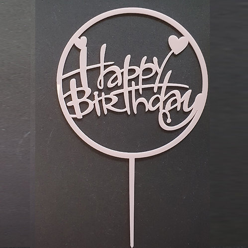 Cake Topper - Happy Birthday Rosa Acryl