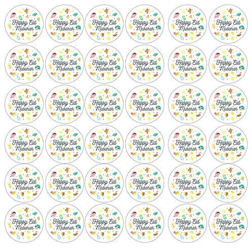 Essbare Buttons - Eid Kids Bunt - 48 Stück für Kekse und Cupcakes