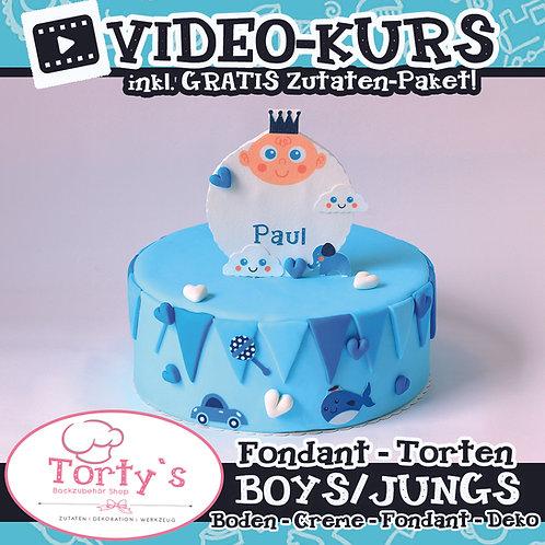 VIDEO - Fondant Torten KURS - Boys/Jungs inkl. GRATIS