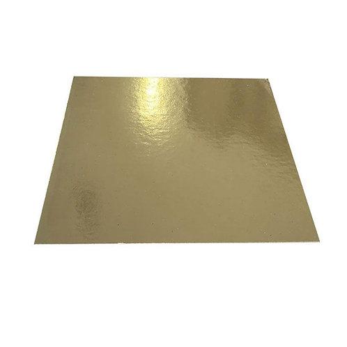 Tortenplatte - Cakeboard - Dünn Quadrat Gold 26cm