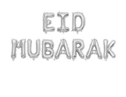 Eid Bayram - Ballons - Eid Mubarak Silber XL