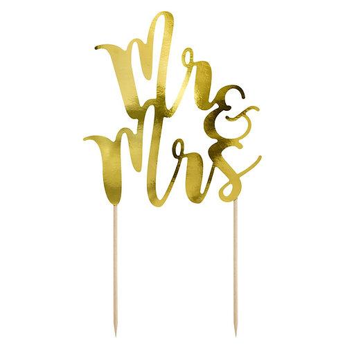 Cake Topper - Mr. und Mrs. - Gold