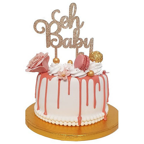 Cake Topper - Oh Baby - Rosa Gold Acryl