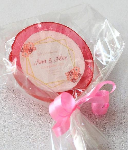 Lolly - Hochzeit - Blumen mit Namen und Datum