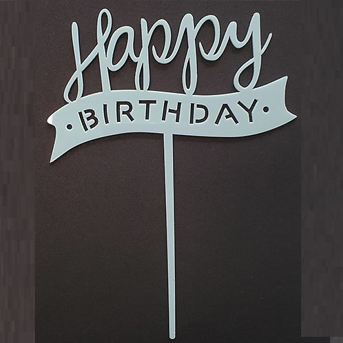 Cake Topper - Happy Birthday Blau Acryl