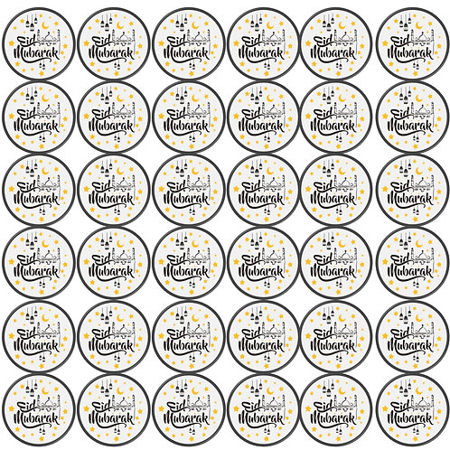 Essbare Buttons - Eid Black/Yellow - 48 Stück für Kekse und Cupcakes