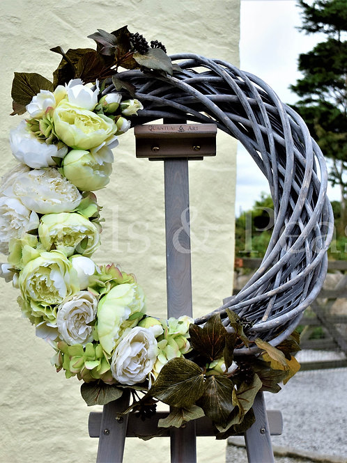 3/4 Stripped wicker rose & peony design
