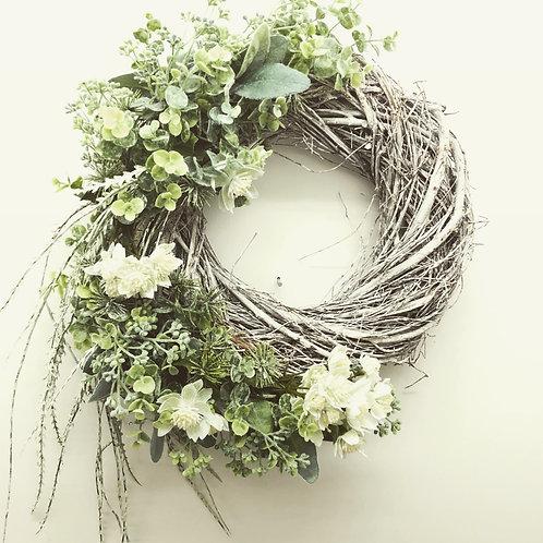 Super Large Wispy White & Silver Wreath