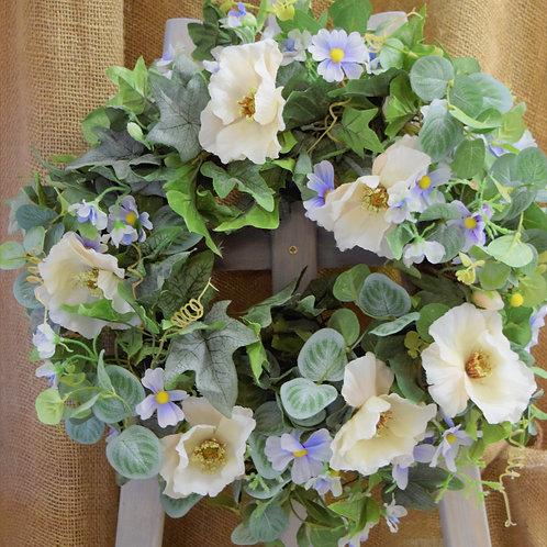 * Pale Blue Cosmos White Poppy Wreath