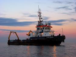Sunset _FlatHolm at anchor