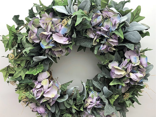 * Deluxe Lilac & Grey Faded Hydrangea Wreath