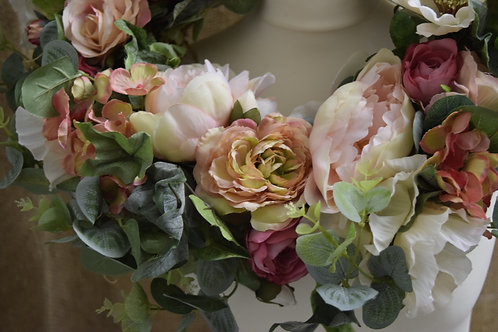 Luxury Rose & Eucalyptus Faux Floral Wreath