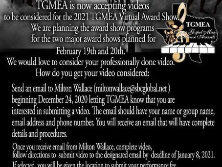 Any indie artists that's interested in showcasing their music video at the 23rd TGMEA, February 2021