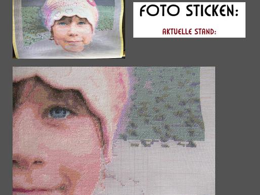 Ich sticke ein Foto-Porträt nach Vorlage: weitere Schritte im Video
