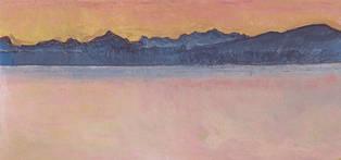 Genfersee mit Mont Blanc im Morgenrot, 1918 / Lake Geneva with Mont Blanc at red aurora, 1918