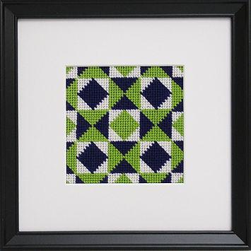 Stickpackung Kaleidoskop Indigoblau-Chartreuse
