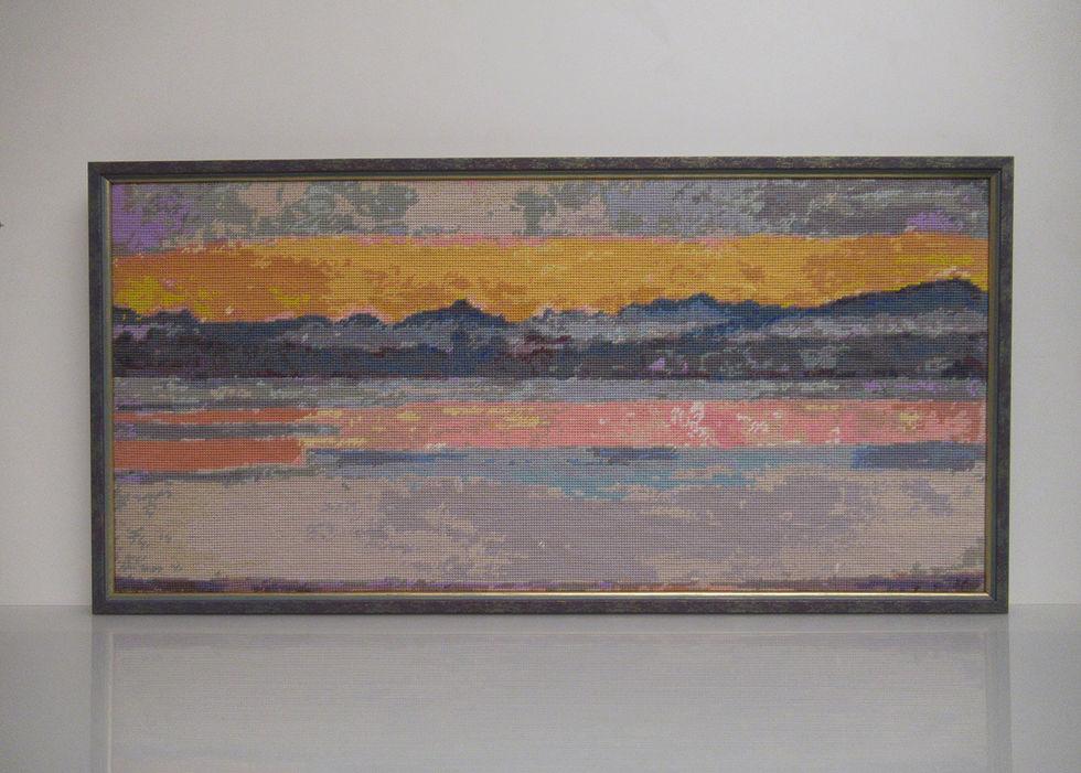 Genfersee mit Mont Blanc in der Morgendämmerung, 47 Farben