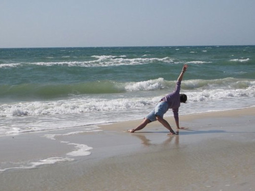 Beach yoga in Florida!