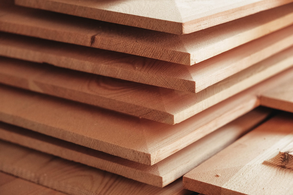 Joiner's boards from light natural wood