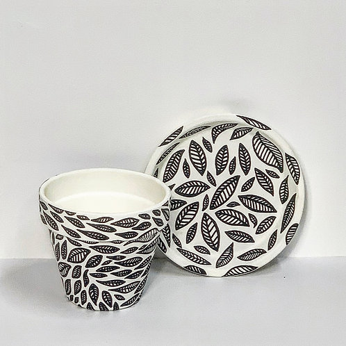Small Hand Decorated Pot and saucer- Monochrome Leaves Design