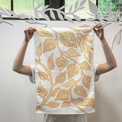 100% Cotton Tea Towel Yellow Vine