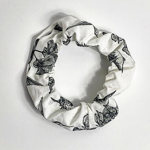 100 % Cotton Large Scrunchie- Hummingbird Design