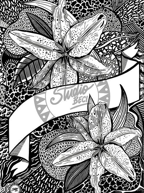 Lily Customisable Colouring Page