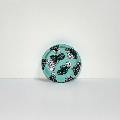 Mini Hand Decorated Saucer- Minty Green Dots and Dashes Design