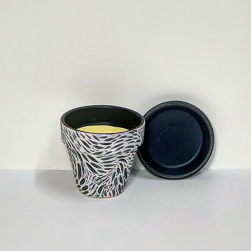 Mini Hand Decorated Pot and Saucer- Brushstrokes Design