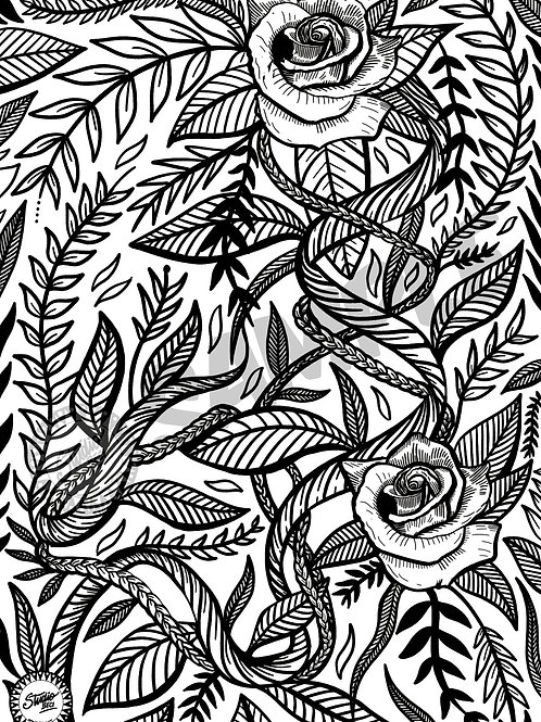 Rose Tangle Downloadable Colouring Page