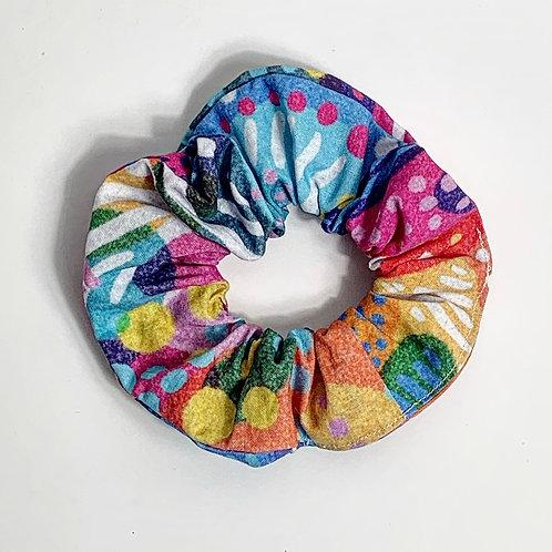 100 % Cotton Scrunchie- Coral Design
