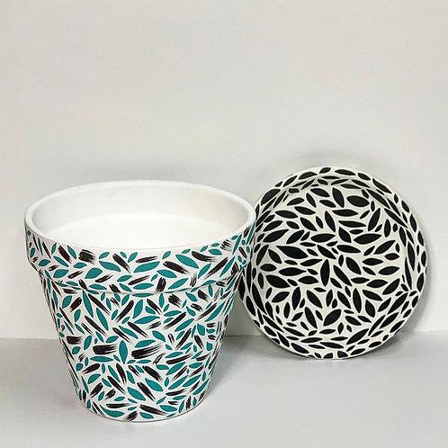 Large Hand Decorated Terracotta Pot- Leaf Brush Strokes Design
