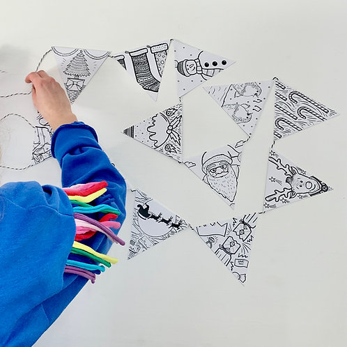 Colour your own Christmas Bunting Kits