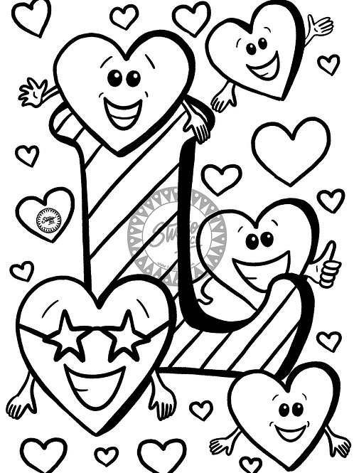 LOVE Colouring Page for Kids