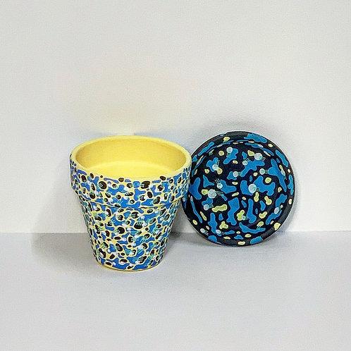 Mini Hand Decorated Pot and Saucer-Lemon Jazz Design