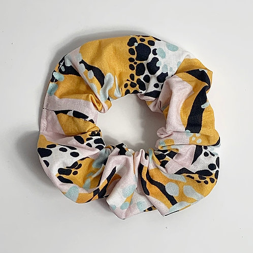 100 % Cotton Scrunchie- Yellow and Mint Design